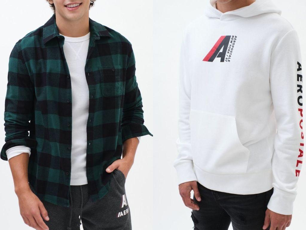 Boys wearing Aeropostale Flannel and Hoodie