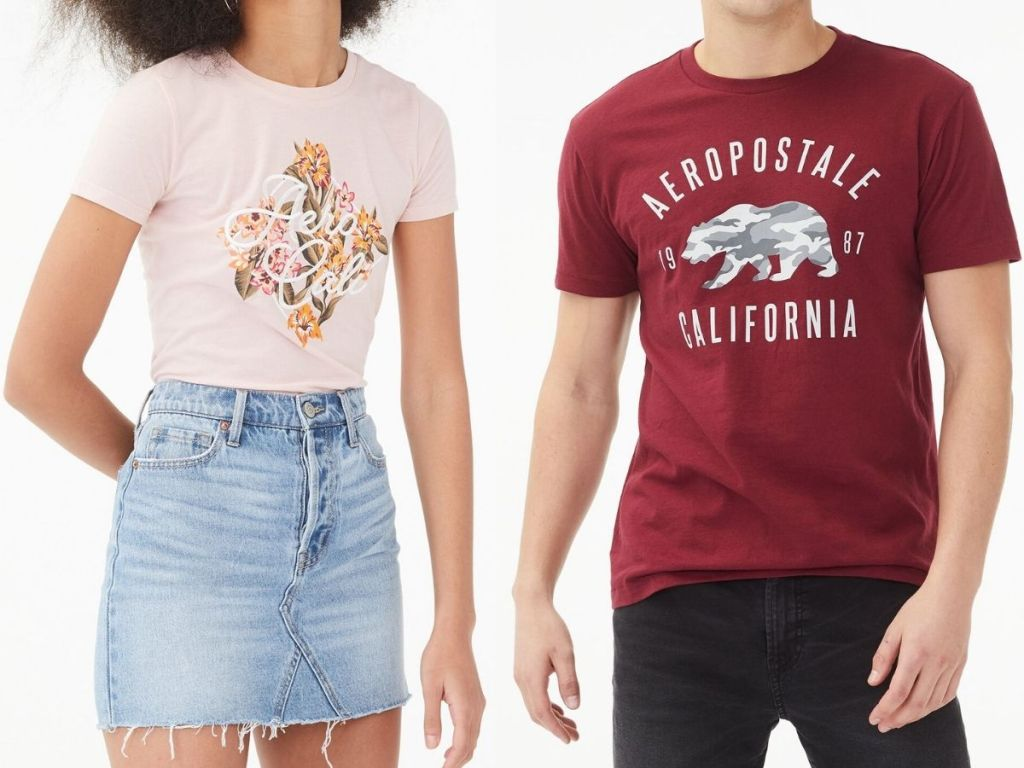 Girl and Boy wearing Aeropostale Graphic Tees