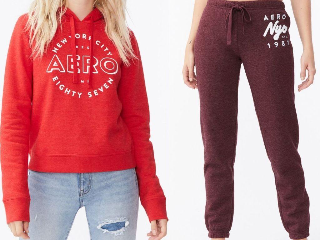 Gadis-gadis mengenakan Hoodies dan Sweatpants Aeropostale