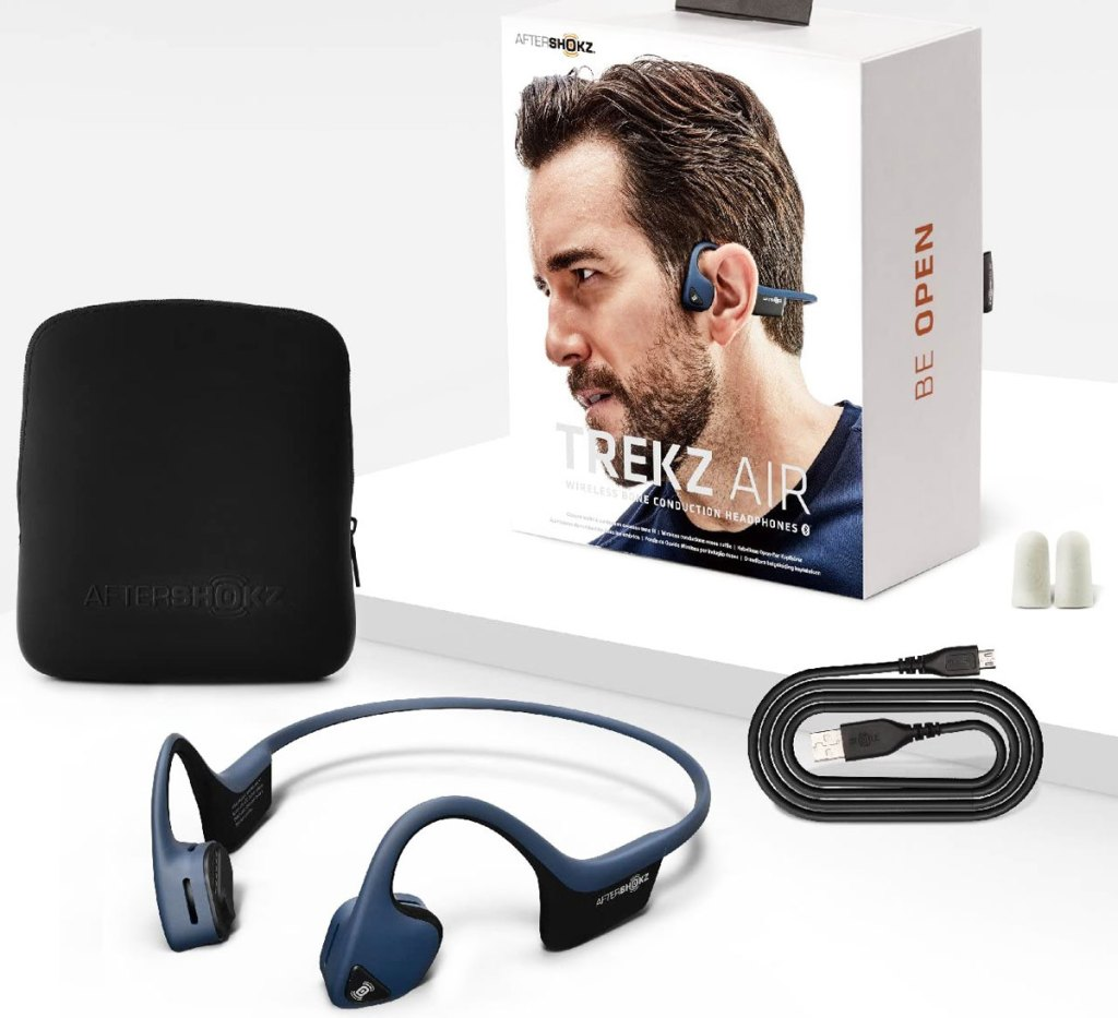 set of blue wireless headphones with box, carrying case, charging cable, and set of earplugs