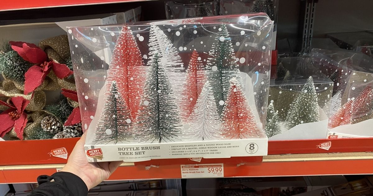 Hand holding a large package of bottle brush style Christmas tree decorations