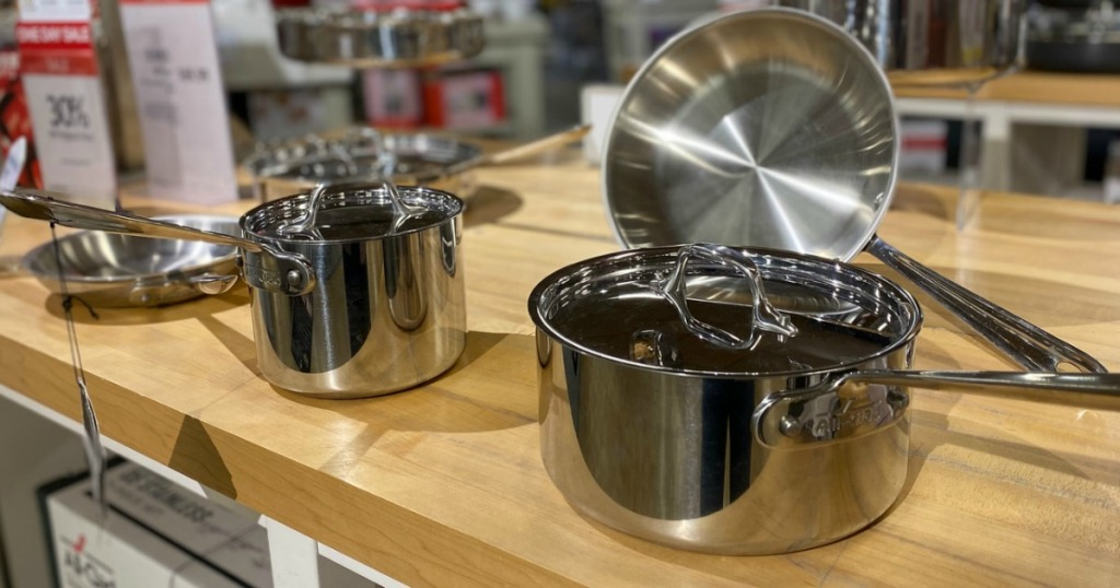 All Clad Cookware on display at Macys