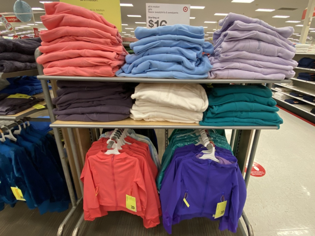 girls fleece sweatpants and sweatshirts in store