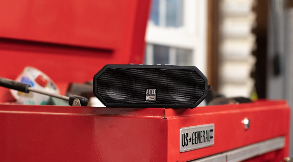 small speaker sitting on a toolbox