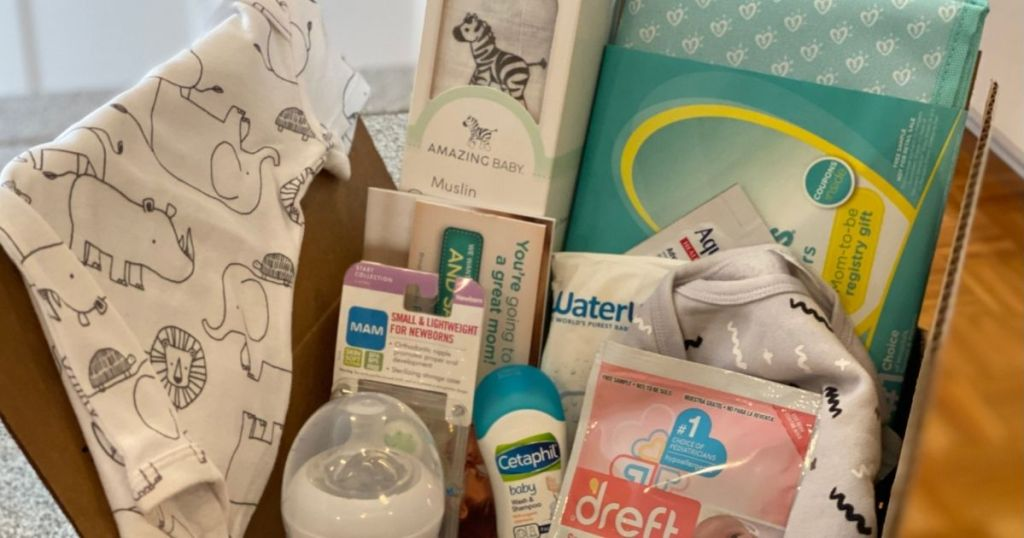 box with baby items in it
