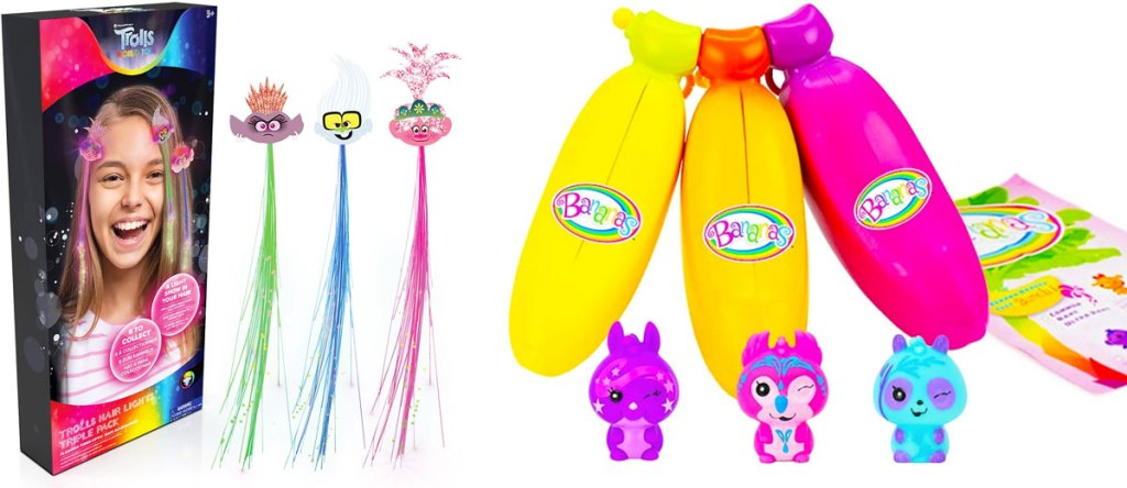 three trolls light up hair extensions and three banana shaped toys with mini animal toys inside