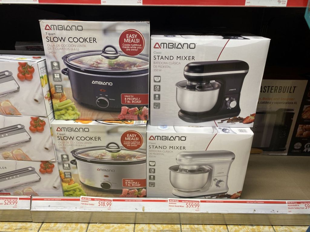 slow cookers and mixers on a shelf at ALDI