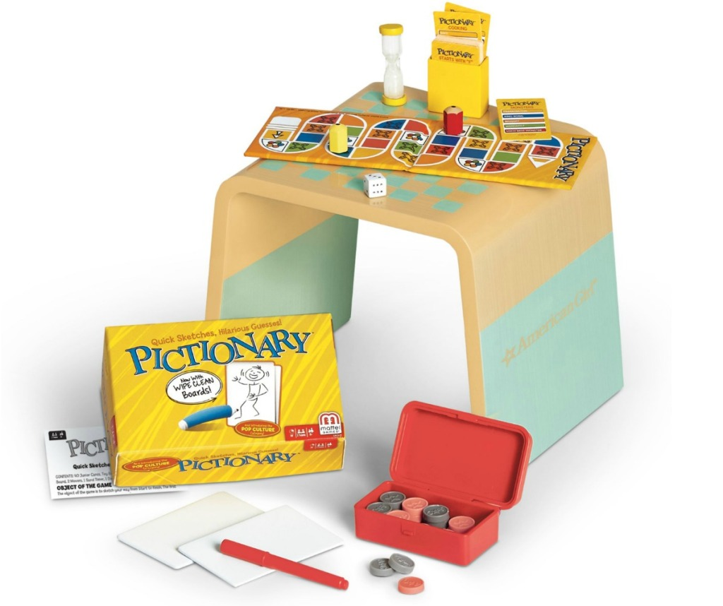 Small doll sized table with board games