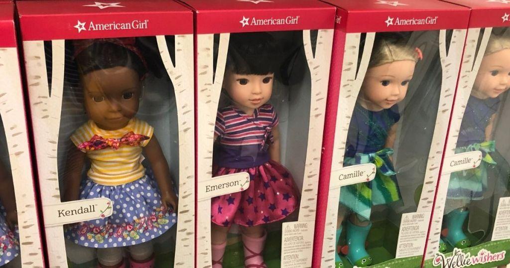 row of American Girl dolls