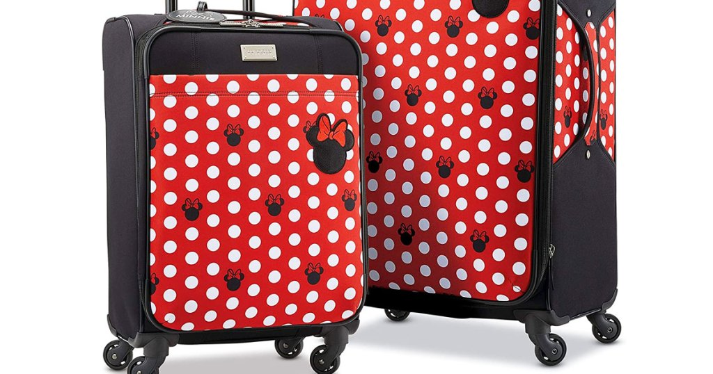 red and black softside luggage with white polka dots and minnie mouse heads print