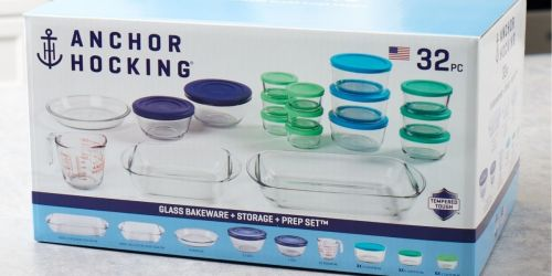 Anchor Hocking 32-Piece Glass Bakeware & Storage Set Only $20 at Walmart | Available In-Store Only