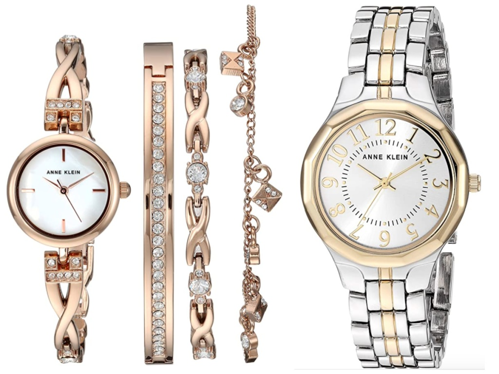 women's anne klein rose gold and gold/silver watches
