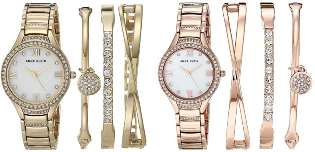 2 anne klein women's watches and bangle bracelet sets