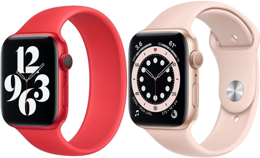 red smart watch and pink smart watch