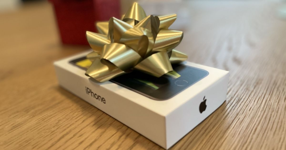 iPhone box with a bow on it - iphone black friday deals