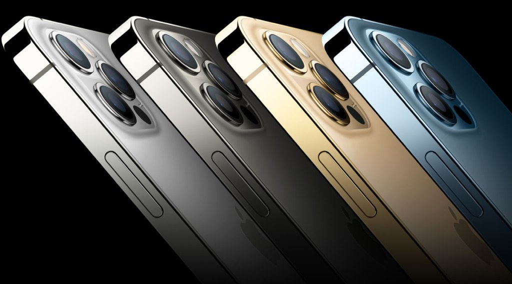 four iphone 12s lined up in silver, grey, gold, and blue colors