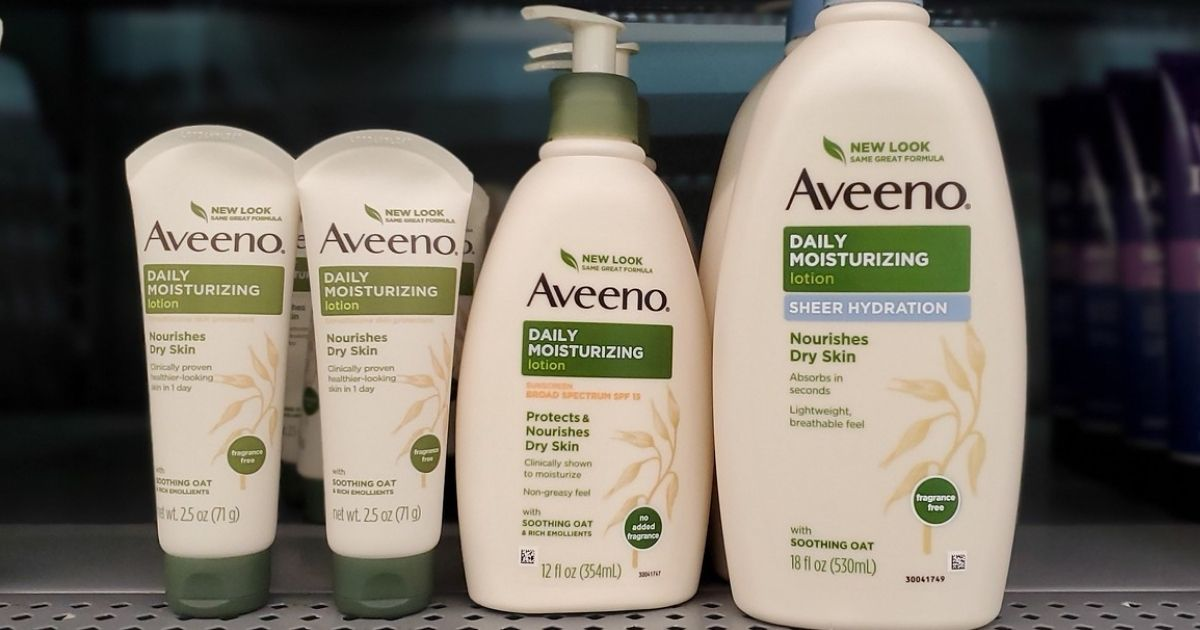 bottles of Aveeno Daily Moisturizing Lotion on a store shelf