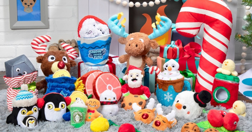 various holiday themed dog toys on floor in home