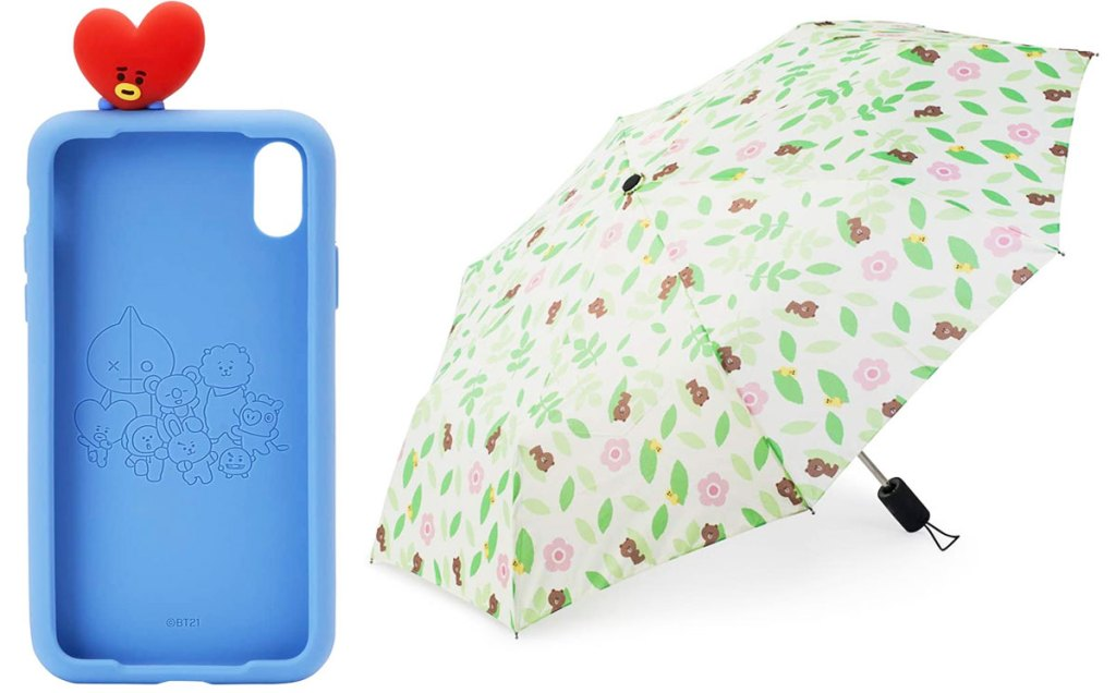blue silicone iphone case with red heart character at top and white umbrella with green leaves, flowers, and bears print