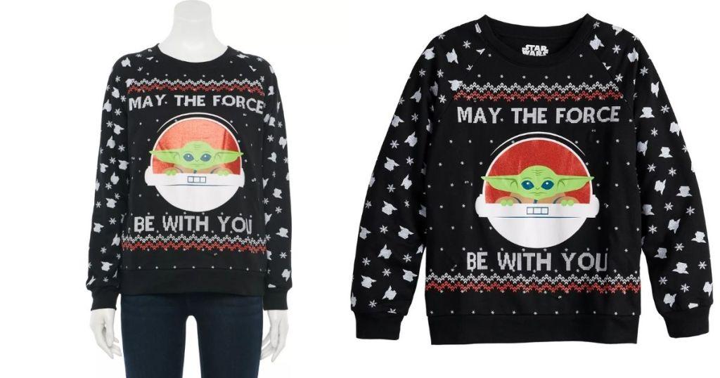 2 views of Baby Yoda Sweater
