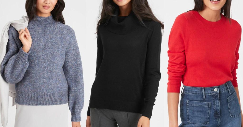 3 women standing side by side wearing cozy banana republic sweaters