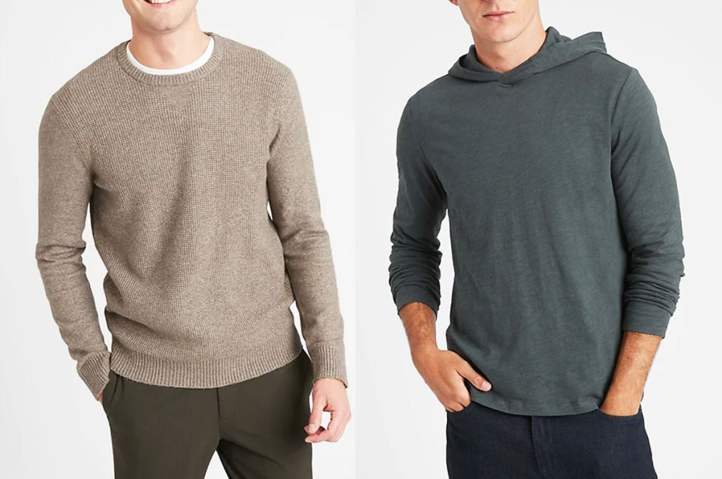 two men modeling a light brown sweater and grey hoodie