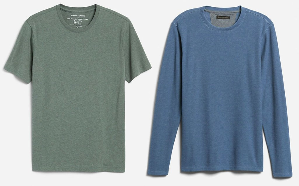 men's short sleeve olive green tee and long sleeve blue pullover