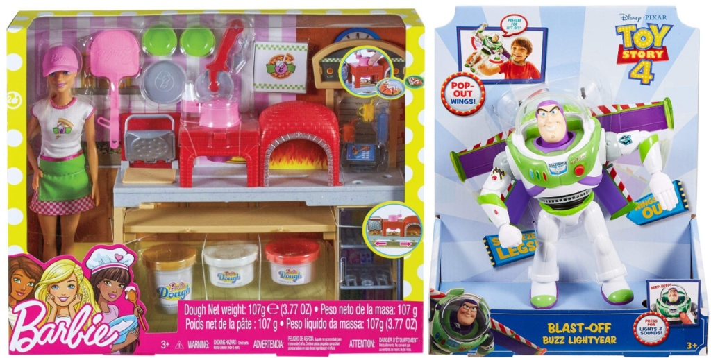 Barbie Pizza Shop toy set and Toy Story Blast-Off Buzz Lightyear Figure