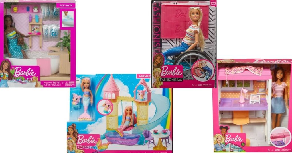 four Barbie Playsets