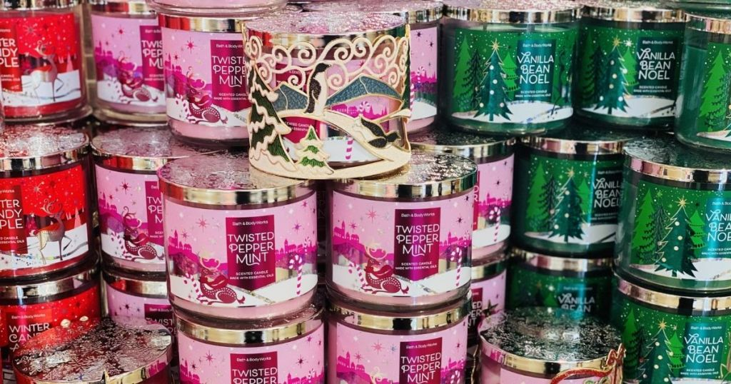 display of Bath & Body Works candles