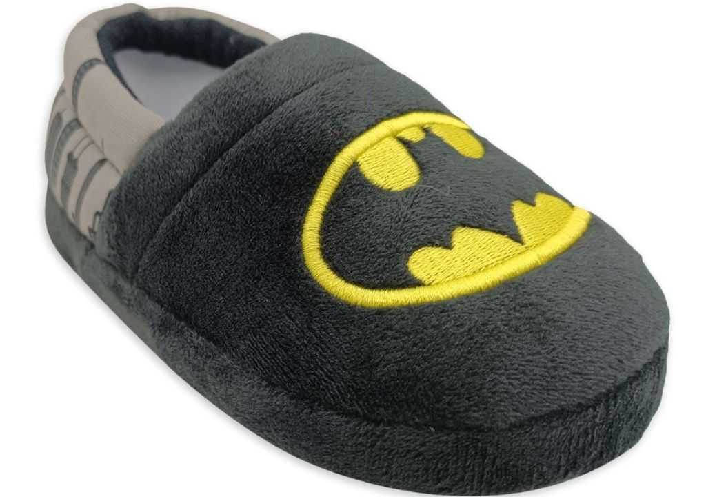 boys slipper with Batman logo on it