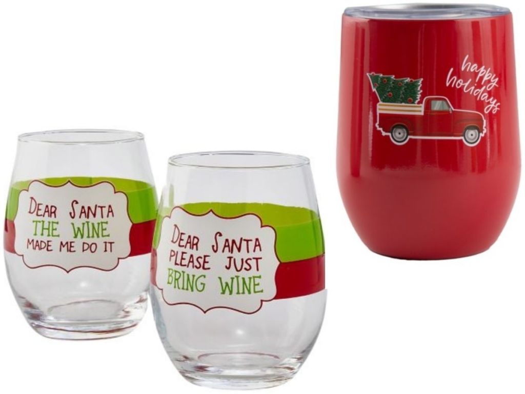 Belk Holiday Drinkware wine glasses and tumbler