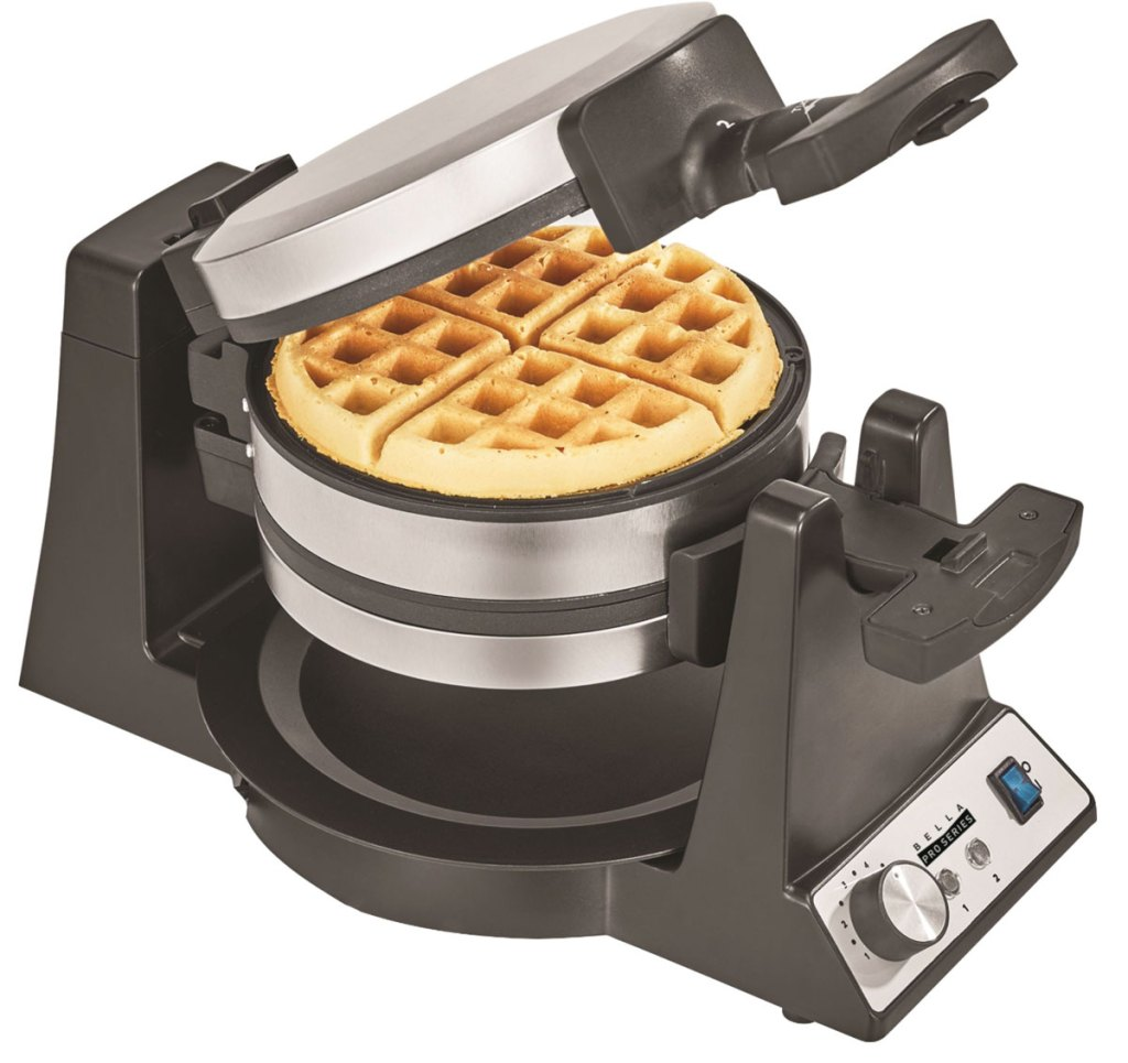 stainless steel and black belgian waffle maker with waffle inside