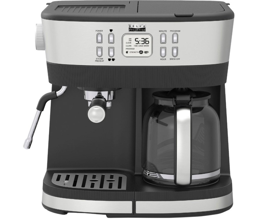 stainless steel and black combo coffee and espresso maker machine