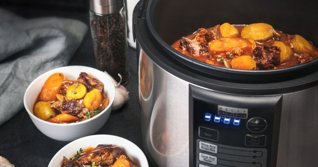 Rice cooker with stew in it