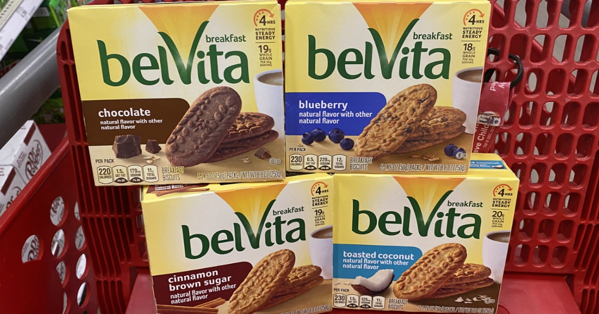 Belvita Breakfast Biscuits in packages in red cart