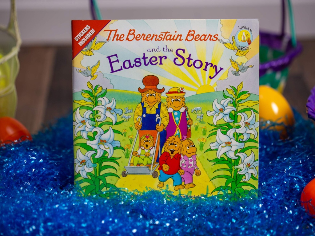 The Berenstain Bears Easter Story book in blue Easter grass