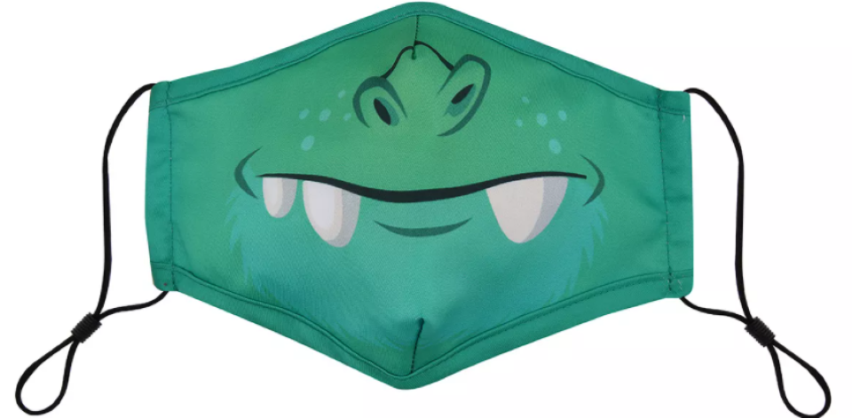 reusable face mask with a monster face