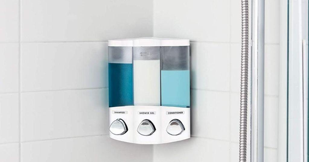 Better Living 3-Chamber Soap Dispenser in shower