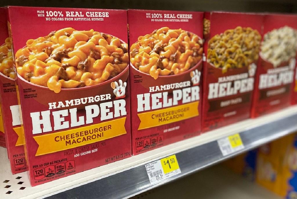 Betty Crocker Hamburger Helper on shelf at Dollar General