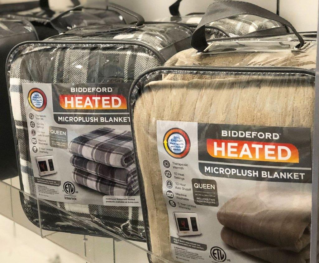two biddeford heated blankets on shelf at kohl's
