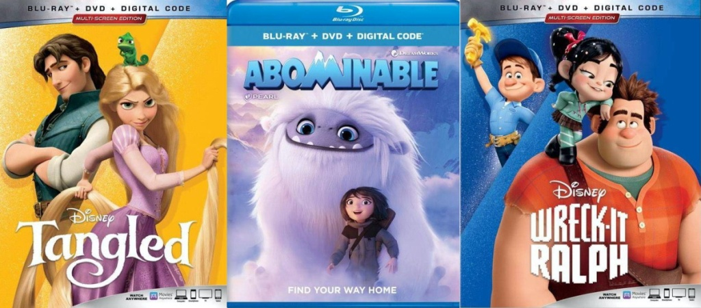 Tangled, Abominable, and Wreck-It-Raplh Blu-ray movies