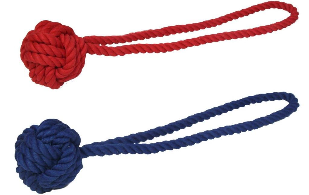 red rope dog toy and blue rope dog toy