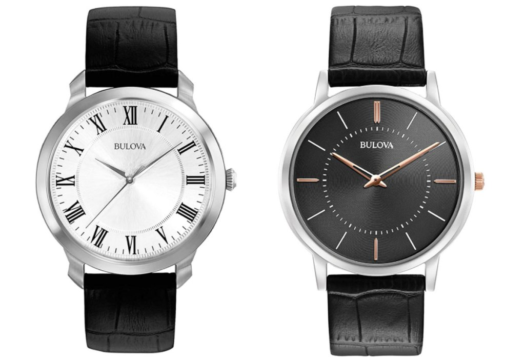 two men's watches with black leather straps and white and black watch faces