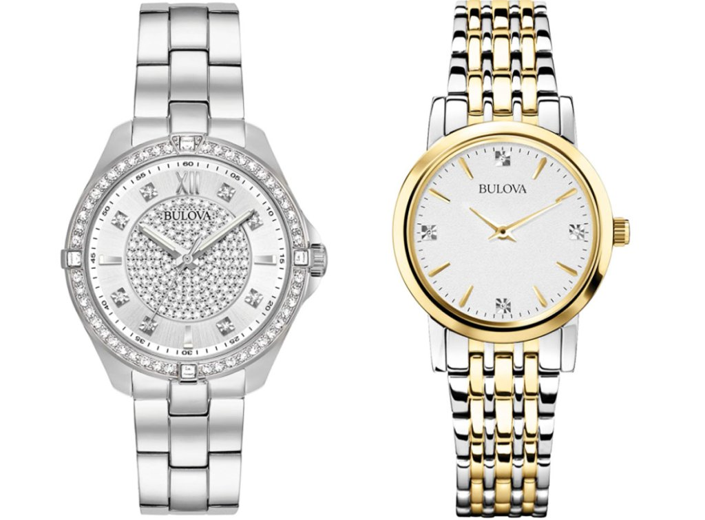 a silver women's watch with crystals on watch face and a silver and gold tone watch with white watch face