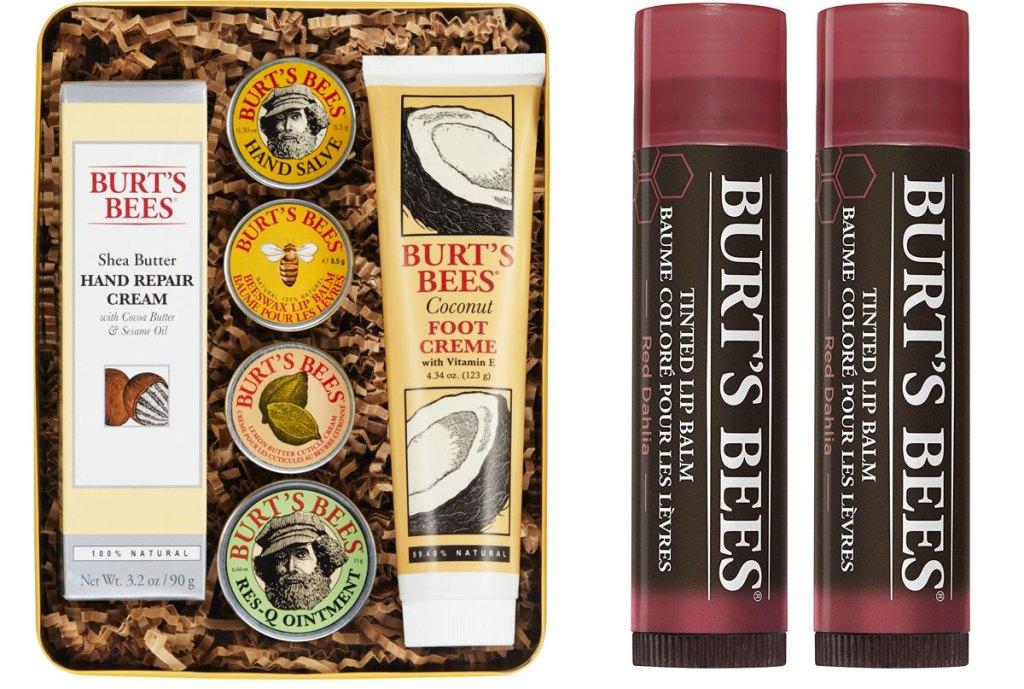 burt's bees 6-piece gift set in a tin and two dark pink burt's bees lip balms