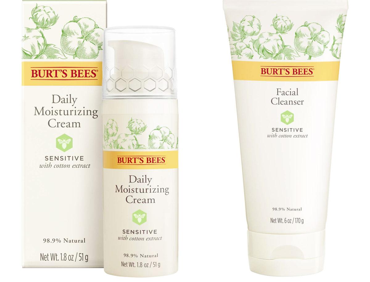 white bottles of burt's bees sensitive skin moisturizer and facial cleanser