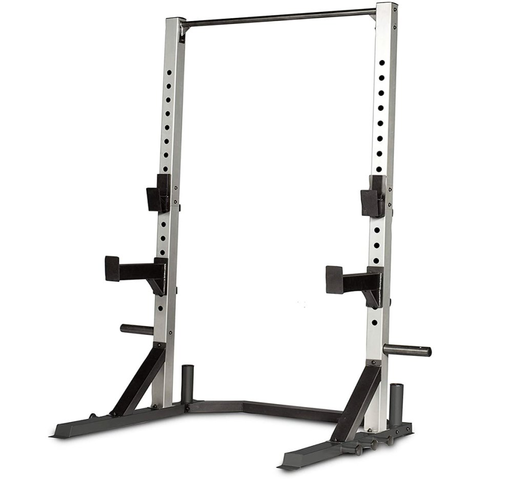 stainless steel and black barbell rack