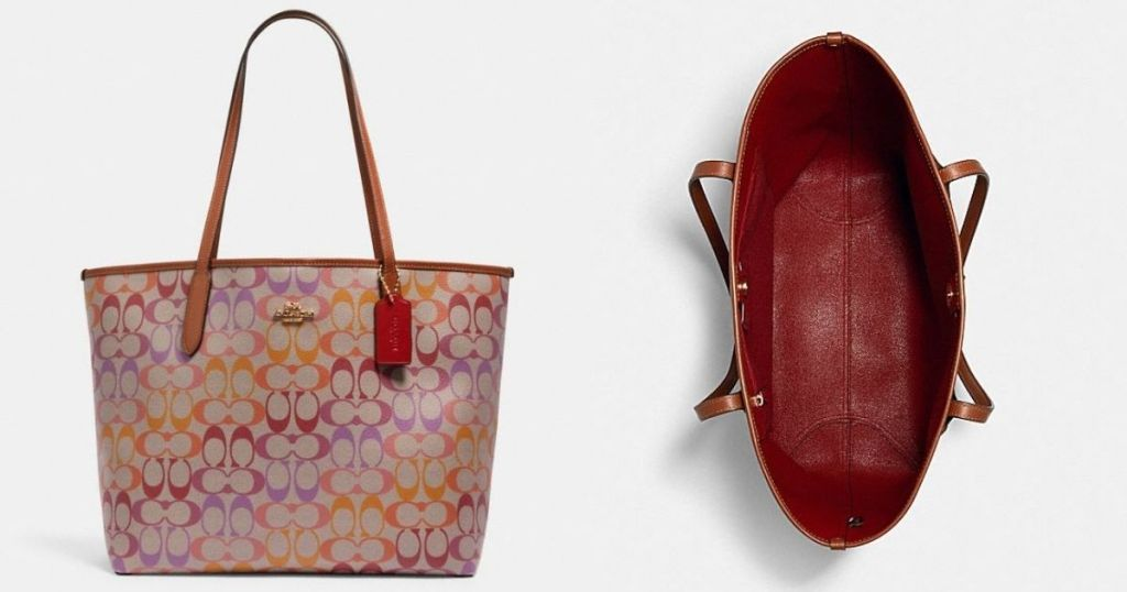 outside and inside of COACH tote