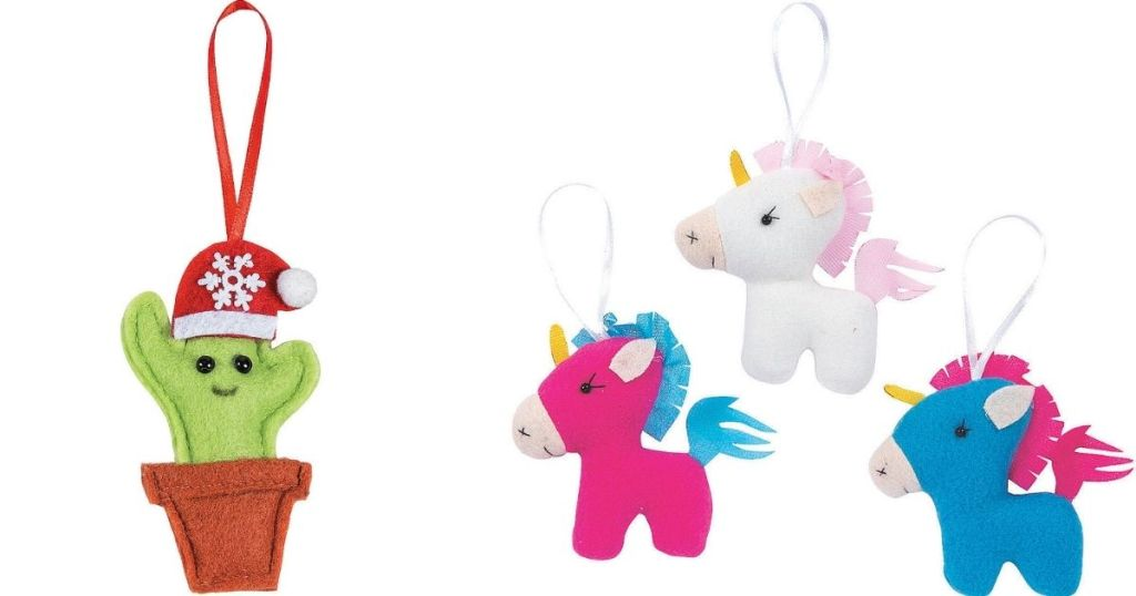 Cactus and Unicorn Ornaments